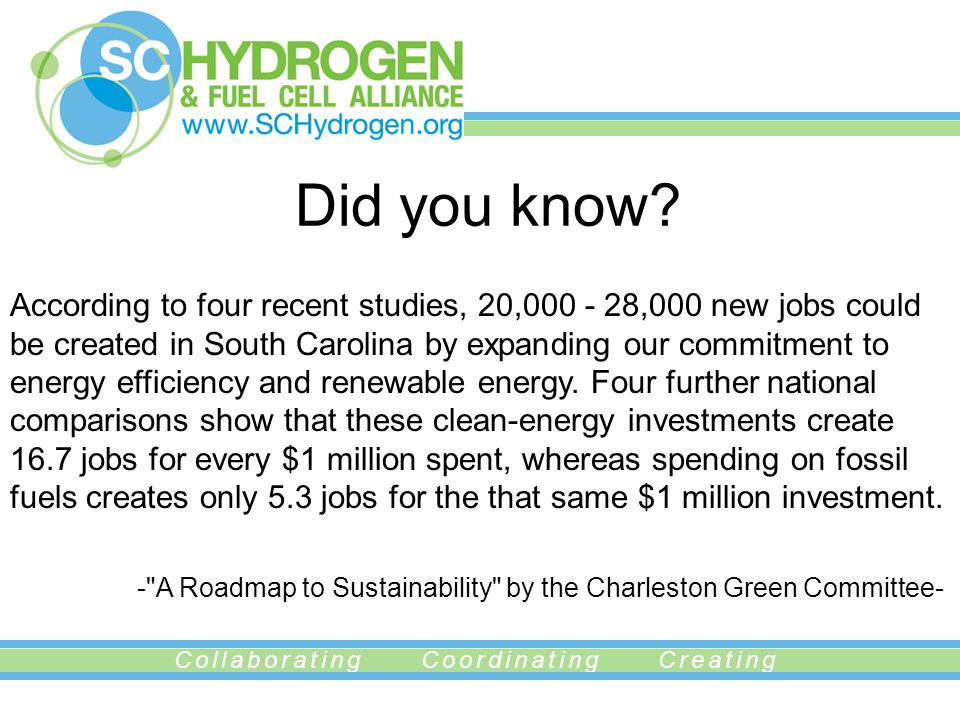 Collaborating Coordinating Creating Did you know? According to four recent studies, 20,000 - 28,000 new jobs could be created in South Carolina by exp