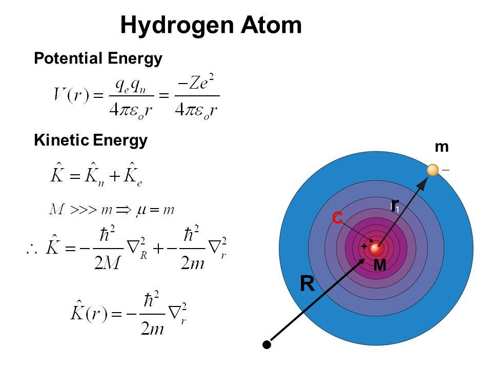 20_01fig_PChem.jpg Hydrogen Atom M m r Potential Energy + Kinetic Energy R C