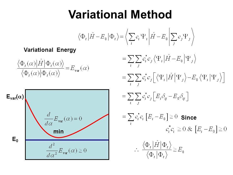 Variational Method Since Variational Energy E0E0 E var (  ) min