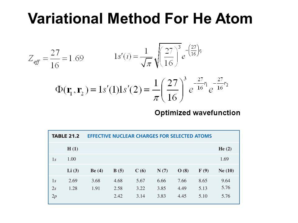 Variational Method For He Atom Optimized wavefunction
