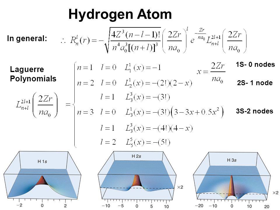 20_01fig_PChem.jpg Hydrogen Atom In general: Laguerre Polynomials 1S- 0 nodes 2S- 1 node 3S-2 nodes