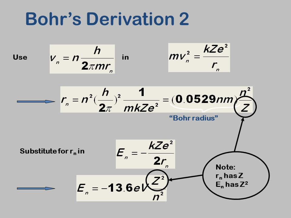 """Usein Substitute for r n in Bohr's Derivation 2 """"Bohr radius"""" Note: r n has Z E n has Z 2"""