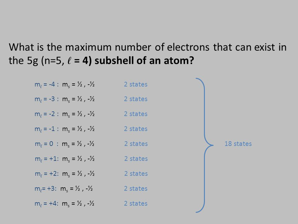 m ℓ = -4 : m s = ½, -½ 2 states m ℓ = -3 : m s = ½, -½2 states m ℓ = -2 : m s = ½, -½ 2 states m ℓ = -1 : m s = ½, -½ 2 states m ℓ = 0 : m s = ½, -½ 2