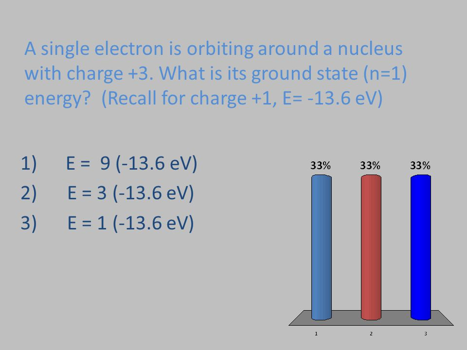 A single electron is orbiting around a nucleus with charge +3. What is its ground state (n=1) energy? (Recall for charge +1, E= -13.6 eV) 1) E = 9 (-1