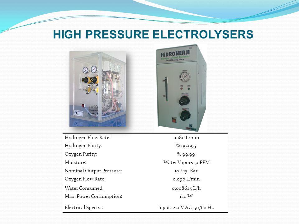 Hydrogen Flow Rate:0.180 L/min Hydrogen Purity:% 99.995 Oxygen Purity:% 99.99 Moisture: Water Vapor< 50PPM Nominal Output Pressure:10 / 15 Bar Oxygen