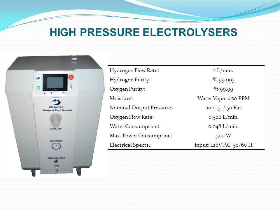 Hydrogen Flow Rate:1 L/min. Hydrogen Purity:% 99.995 Oxygen Purity:% 99.99 Moisture:Water Vapor< 50 PPM Nominal Output Pressure:10 / 15 / 50 Bar Oxyge
