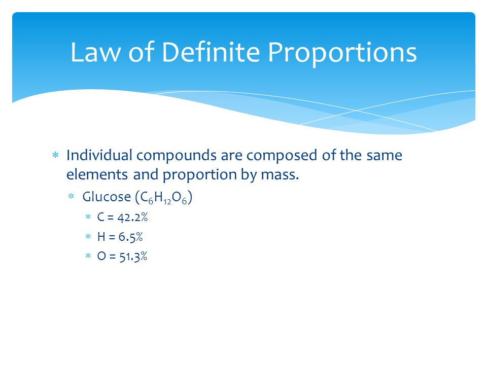  Individual compounds are composed of the same elements and proportion by mass.