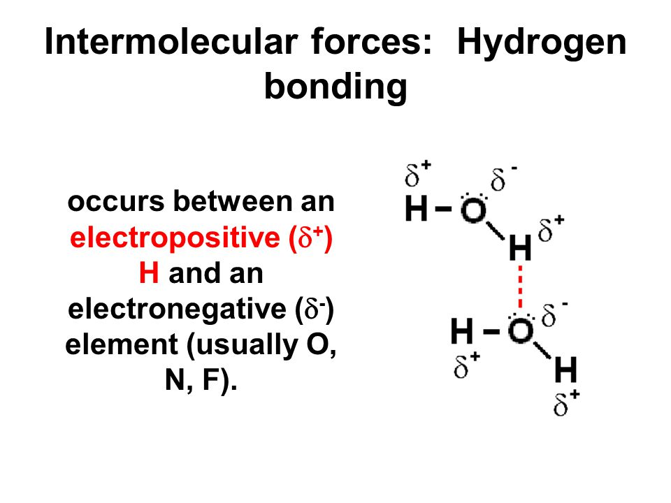Intermolecular forces: Hydrogen bonding occurs between an electropositive (  + ) H and an electronegative (  - ) element (usually O, N, F).
