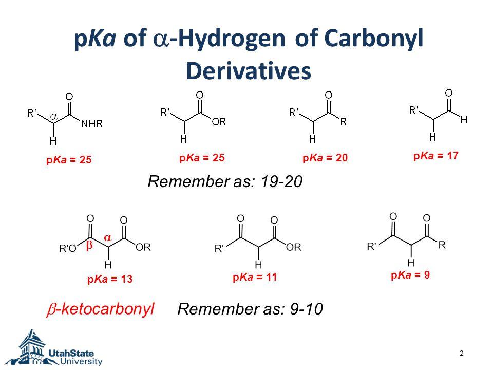 Resonance Effect on the pKa of  - Hydrogen 3 Aldehydes or ketones Esters or amides  -ketocarbonyl