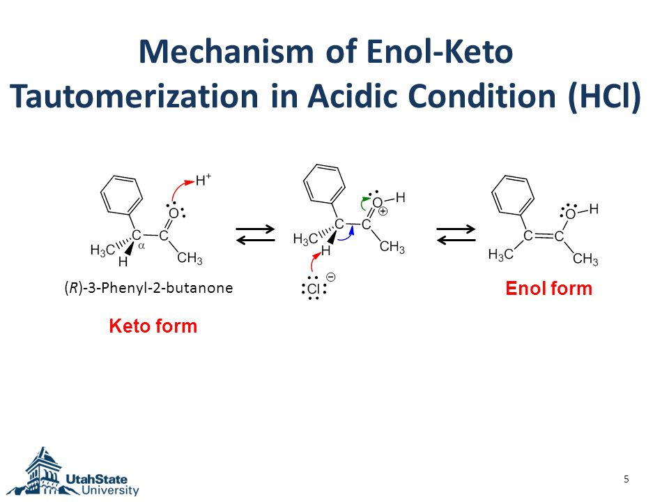 Mechanism of Enol-Keto Tautomerization in Acidic Condition (HCl) 5 (R)-3-Phenyl-2-butanone Keto form Enol form