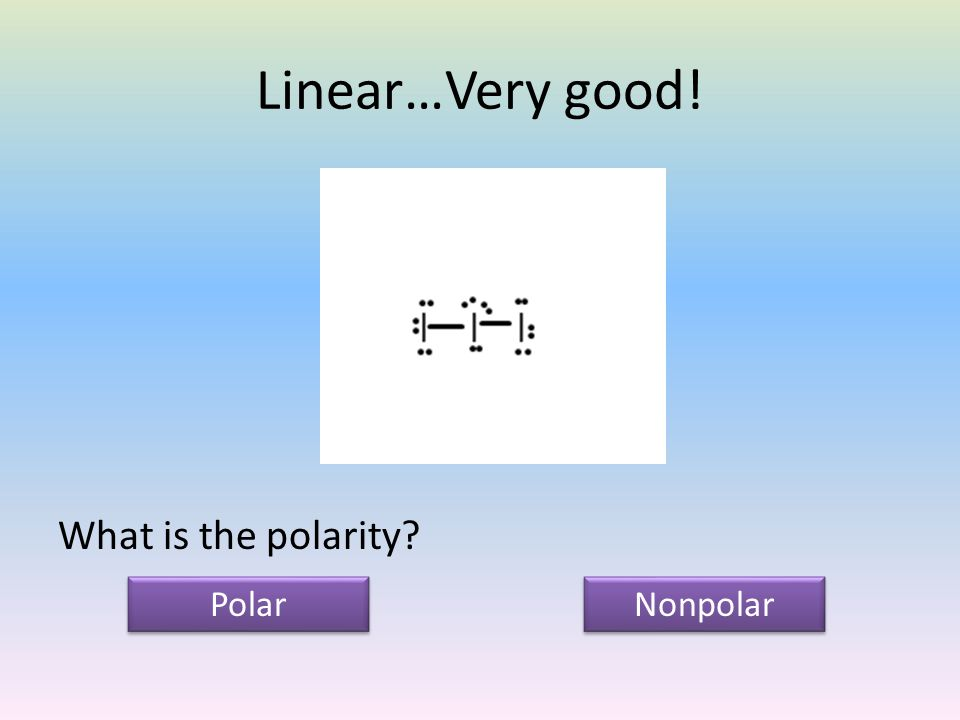 Linear…Very good! What is the polarity Polar Nonpolar