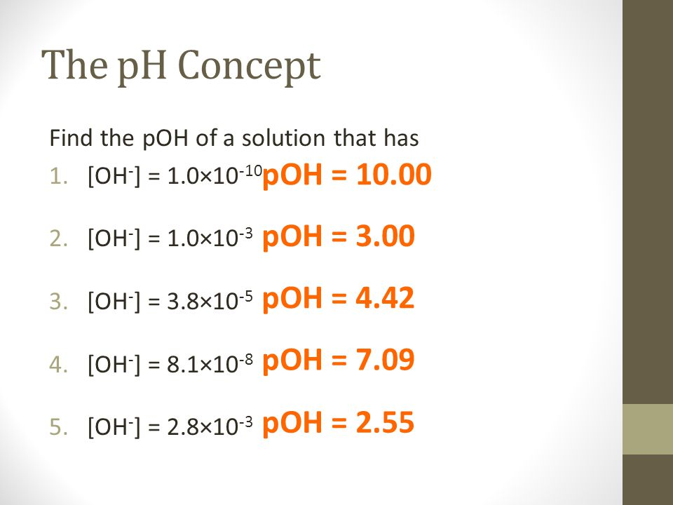 The pH Concept Find the pOH of a solution that has 1.[OH - ] = 1.0×10 -10 2.[OH - ] = 1.0×10 -3 3.[OH - ] = 3.8×10 -5 4.[OH - ] = 8.1×10 -8 5.[OH - ] = 2.8×10 -3 pOH = 10.00 pOH = 3.00 pOH = 4.42 pOH = 7.09 pOH = 2.55