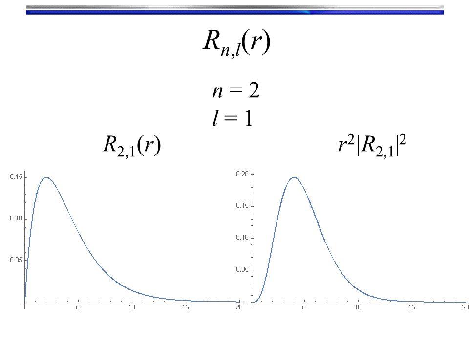 Rn,l(r)Rn,l(r) n = 2 l = 1 R 2,1 (r)r 2 |R 2,1 | 2