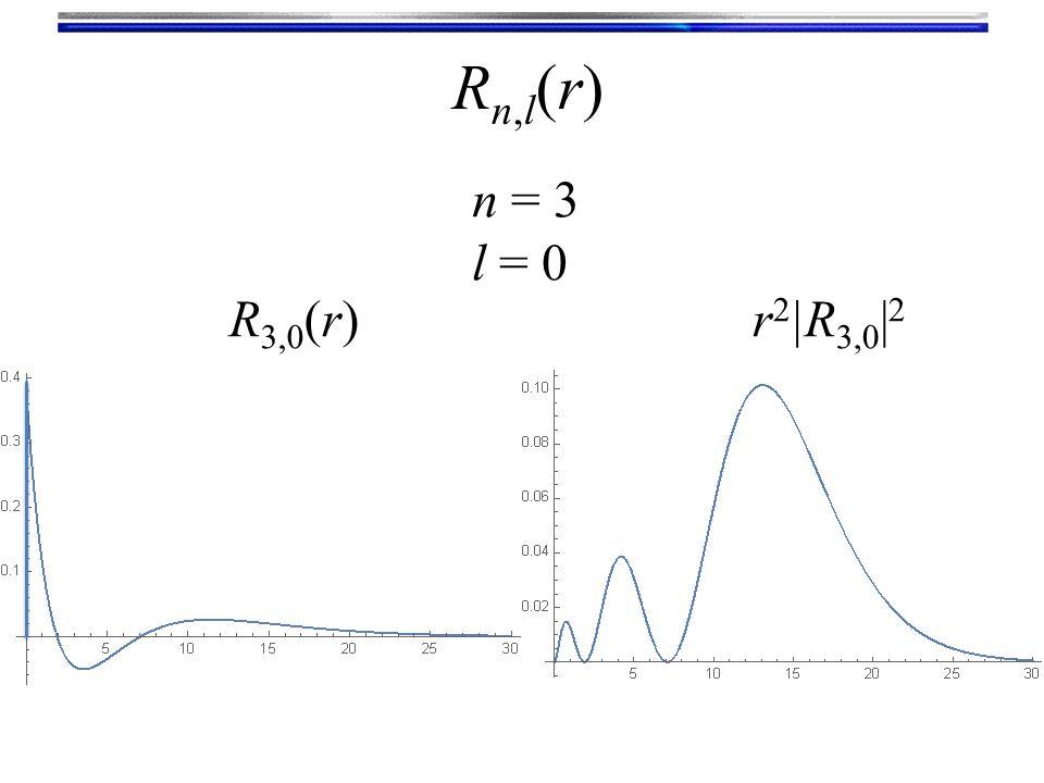Rn,l(r)Rn,l(r) n = 3 l = 0 R 3,0 (r)r 2 |R 3,0 | 2