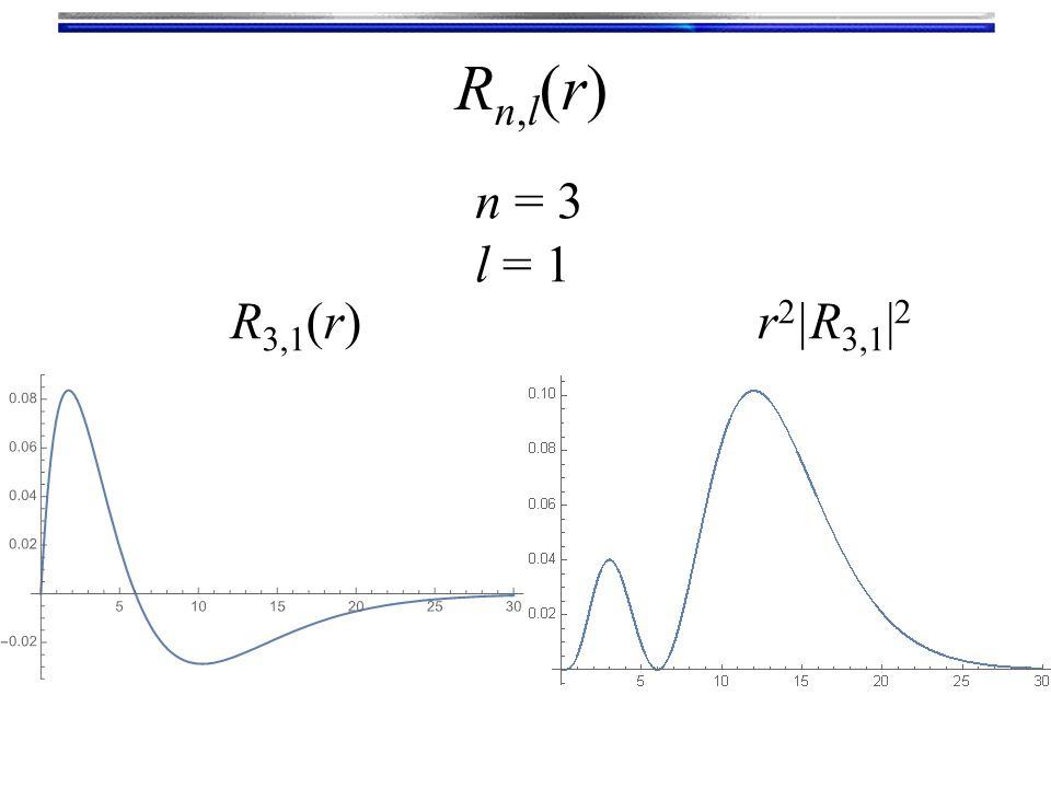 Rn,l(r)Rn,l(r) n = 3 l = 1 R 3,1 (r)r 2 |R 3,1 | 2