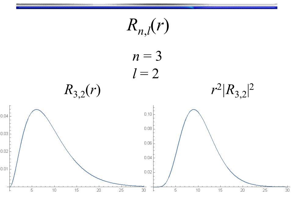 Rn,l(r)Rn,l(r) n = 3 l = 2 R 3,2 (r)r 2 |R 3,2 | 2