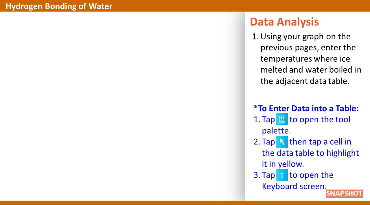 1.Using your graph on the previous pages, enter the temperatures where ice melted and water boiled in the adjacent data table. Data Analysis Hydrogen
