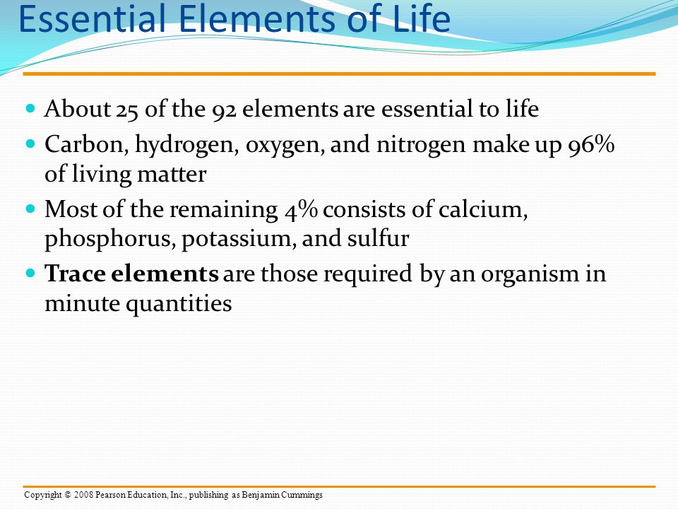 The Solvent of Life A solution is a liquid that is a homogeneous mixture of substances A solvent is the dissolving agent of a solution The solute is the substance that is dissolved An aqueous solution is one in which water is the solvent Copyright © 2008 Pearson Education, Inc., publishing as Pearson Benjamin Cummings
