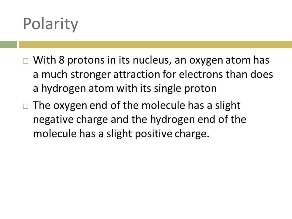 Polarity  With 8 protons in its nucleus, an oxygen atom has a much stronger attraction for electrons than does a hydrogen atom with its single proton