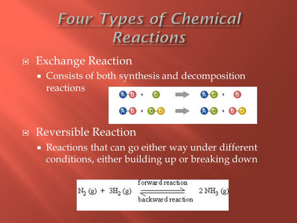  Exchange Reaction  Consists of both synthesis and decomposition reactions  Reversible Reaction  Reactions that can go either way under different conditions, either building up or breaking down