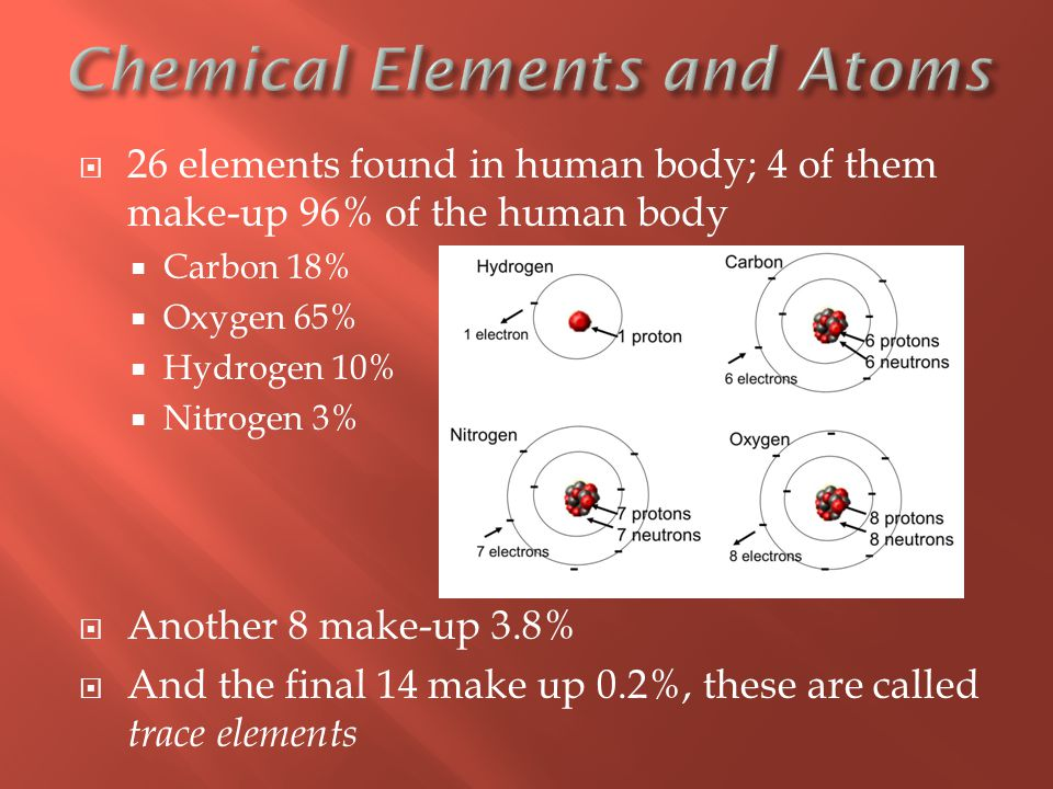  26 elements found in human body; 4 of them make-up 96% of the human body  Carbon 18%  Oxygen 65%  Hydrogen 10%  Nitrogen 3%  Another 8 make-up 3.8%  And the final 14 make up 0.2%, these are called trace elements