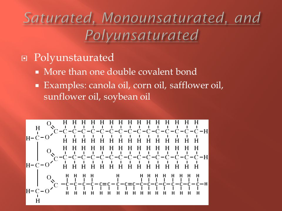  Polyunstaurated  More than one double covalent bond  Examples: canola oil, corn oil, safflower oil, sunflower oil, soybean oil