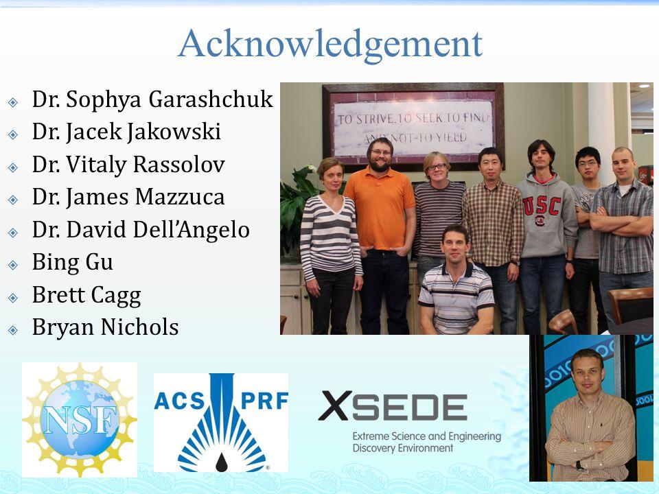 Acknowledgement  Dr. Sophya Garashchuk  Dr. Jacek Jakowski  Dr. Vitaly Rassolov  Dr. James Mazzuca  Dr. David Dell'Angelo  Bing Gu  Brett Cagg