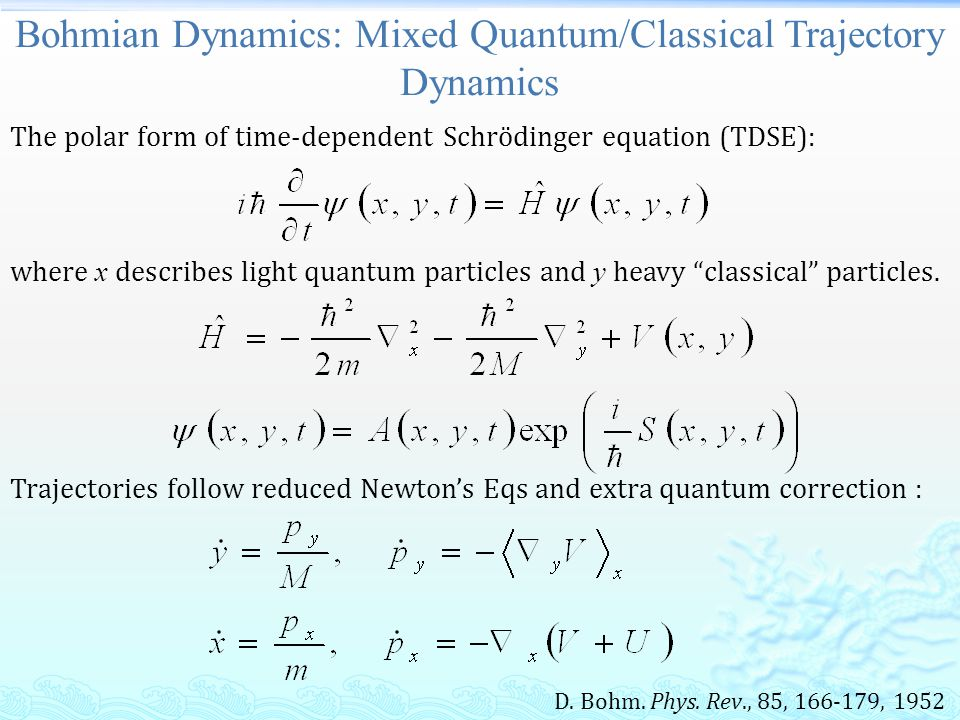 Conclusion  Hybrid quantum/classical trajectory dynamics: reduced dimensionality quantum corrections on dynamics for light/heavy particles.