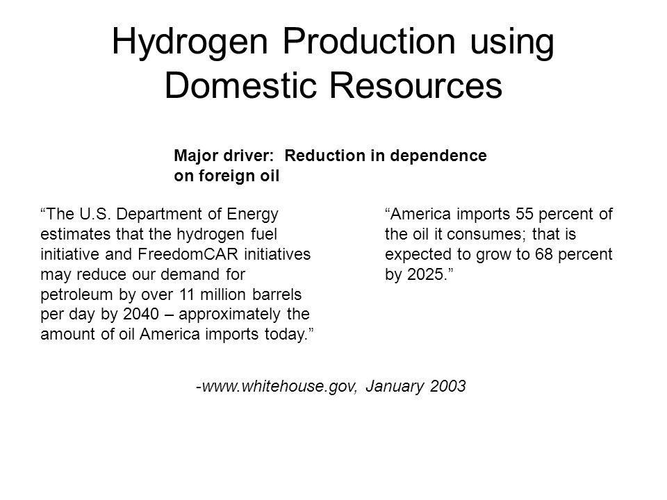 Hydrogen Production using Domestic Resources The U.S.