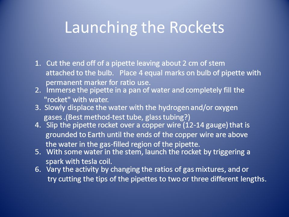 Launching the Rockets 1. Cut the end off of a pipette leaving about 2 cm of stem attached to the bulb. Place 4 equal marks on bulb of pipette with per