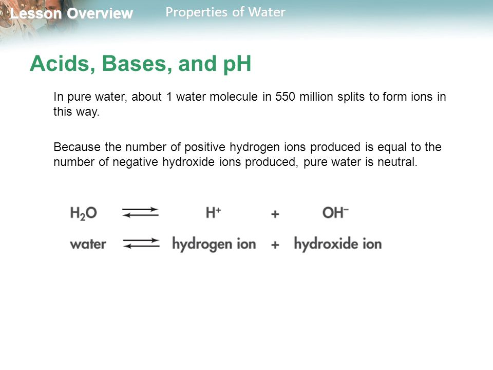Lesson Overview Lesson Overview Properties of Water Acids, Bases, and pH In pure water, about 1 water molecule in 550 million splits to form ions in t