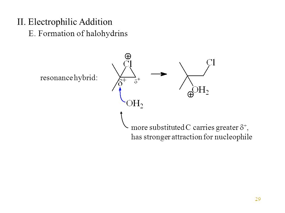 29 II. Electrophilic Addition E. Formation of halohydrins resonance hybrid: more substituted C carries greater  +, has stronger attraction for nucleo