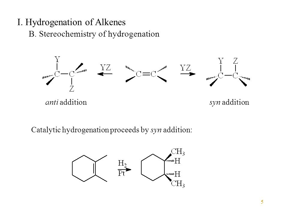 5 I. Hydrogenation of Alkenes B.