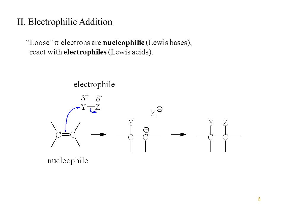 "8 II. Electrophilic Addition ""Loose""  electrons are nucleophilic (Lewis bases), react with electrophiles (Lewis acids)."