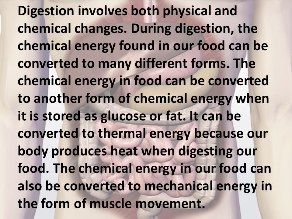 Digestion involves both physical and chemical changes. During digestion, the chemical energy found in our food can be converted to many different form