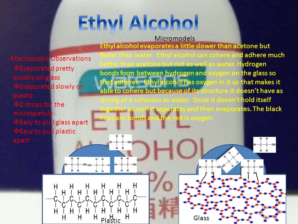 Macroscopic Observations  Evaporated pretty quickly on glass  Evaporated slowly on plastic  2 drops for the microspatula  Easy to pull glass apart  Easy to pull plastic apart Plastic Glass Micromodels Ethyl alcohol evaporates a little slower than acetone but faster than water.