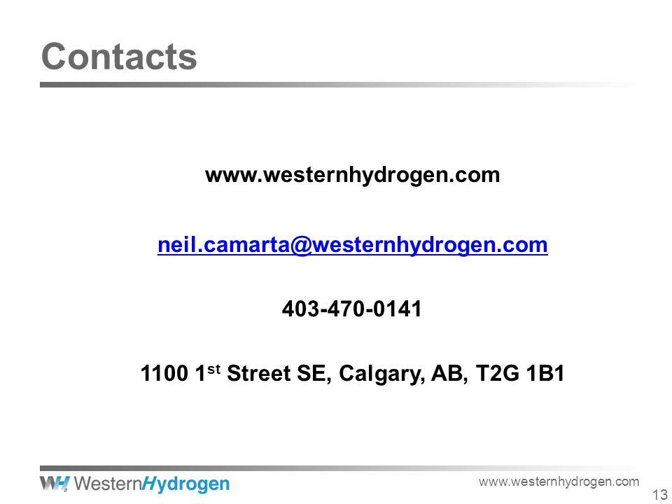 13 www.westernhydrogen.com neil.camarta@westernhydrogen.com 403-470-0141 1100 1 st Street SE, Calgary, AB, T2G 1B1