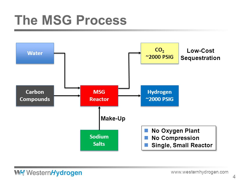 MSG Reactor MSG Reactor Hydrogen ~2000 PSIG Hydrogen ~2000 PSIG CO 2 ~2000 PSIG CO 2 ~2000 PSIG Sodium Salts Sodium Salts Carbon Compounds Carbon Compounds Water Low-Cost Sequestration Make-Up No Oxygen Plant No Compression Single, Small Reactor No Oxygen Plant No Compression Single, Small Reactor www.westernhydrogen.com 4