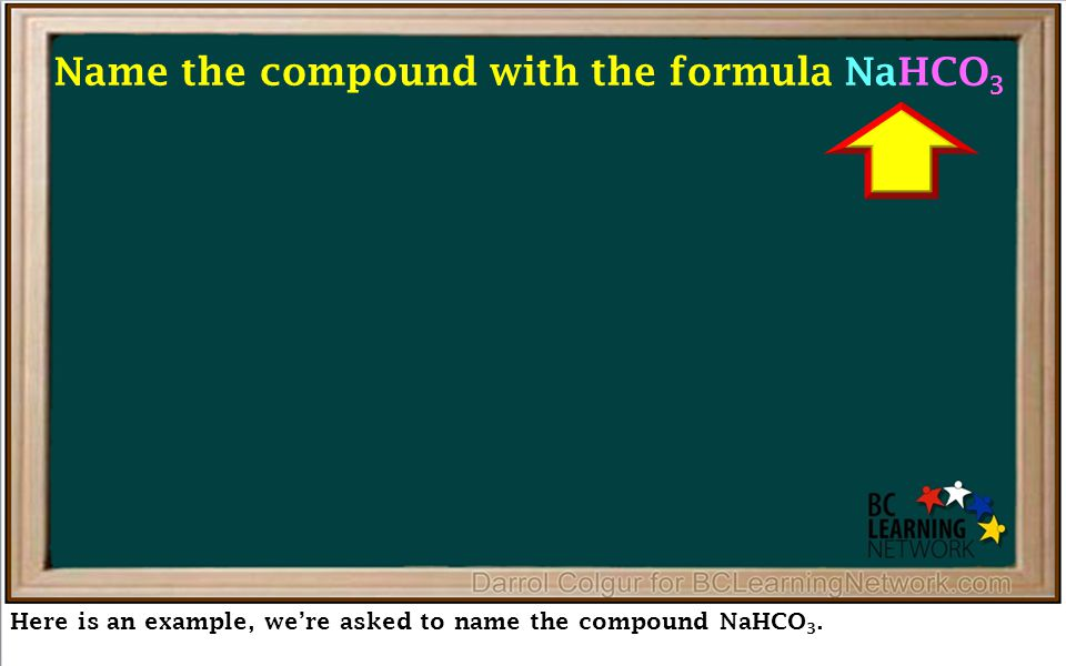 Here is an example, we're asked to name the compound NaHCO 3.