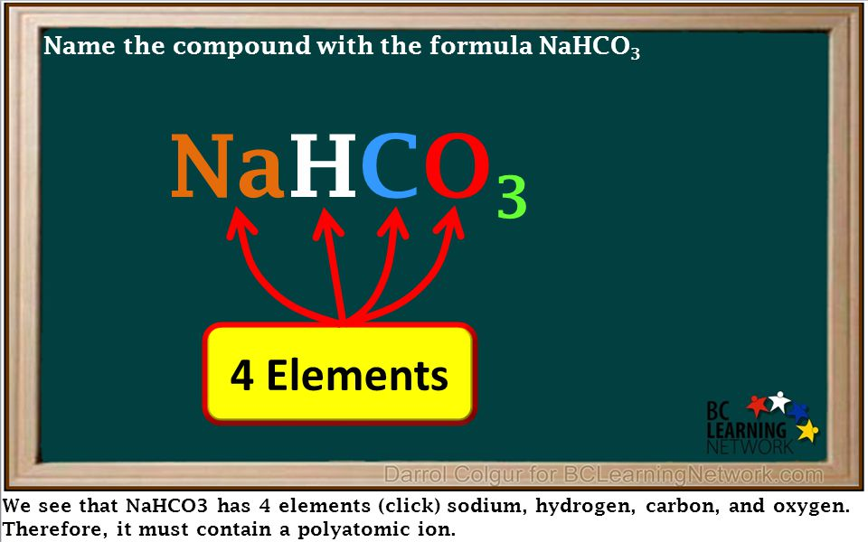 We see that NaHCO3 has 4 elements (click) sodium, hydrogen, carbon, and oxygen.