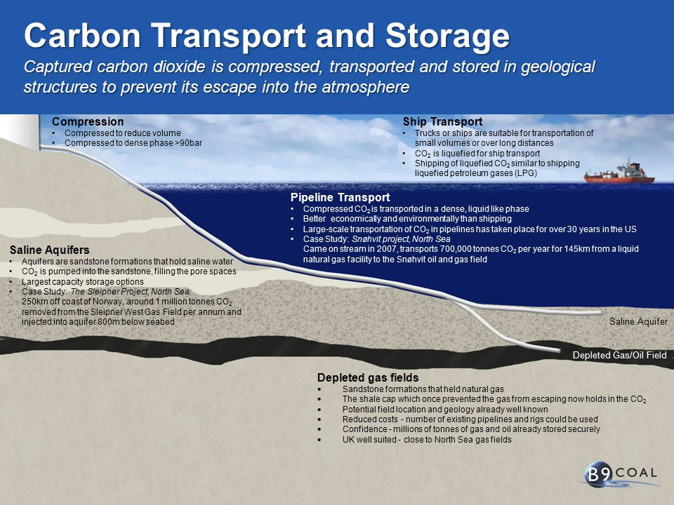 Depleted Gas/Oil Field Saline Aquifer Pipeline Transport Compressed CO 2 is transported in a dense, liquid like phase Better economically and environmentally than shipping Large-scale transportation of CO 2 in pipelines has taken place for over 30 years in the US Case Study: Snøhvit project, North Sea Came on stream in 2007, transports 700,000 tonnes CO 2 per year for 145km from a liquid natural gas facility to the Snøhvit oil and gas field Saline Aquifers Aquifers are sandstone formations that hold saline water CO 2 is pumped into the sandstone, filling the pore spaces Largest capacity storage options Case Study: The Sleipner Project, North Sea 250km off coast of Norway, around 1 million tonnes CO 2 removed from the Sleipner West Gas Field per annum and injected into aquifer 800m below seabed Depleted gas fields  Sandstone formations that held natural gas  The shale cap which once prevented the gas from escaping now holds in the CO 2  Potential field location and geology already well known  Reduced costs - number of existing pipelines and rigs could be used  Confidence - millions of tonnes of gas and oil already stored securely  UK well suited - close to North Sea gas fields Captured carbon dioxide is compressed, transported and stored in geological structures to prevent its escape into the atmosphere Carbon Transport and Storage Compression Compressed to reduce volume Compressed to dense phase >90bar Ship Transport Trucks or ships are suitable for transportation of small volumes or over long distances CO 2 is liquefied for ship transport Shipping of liquefied CO 2 similar to shipping liquefied petroleum gases (LPG)