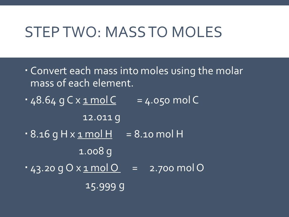 STEP TWO: MASS TO MOLES  Convert each mass into moles using the molar mass of each element.  48.64 g C x 1 mol C = 4.050 mol C 12.011 g  8.16 g H x