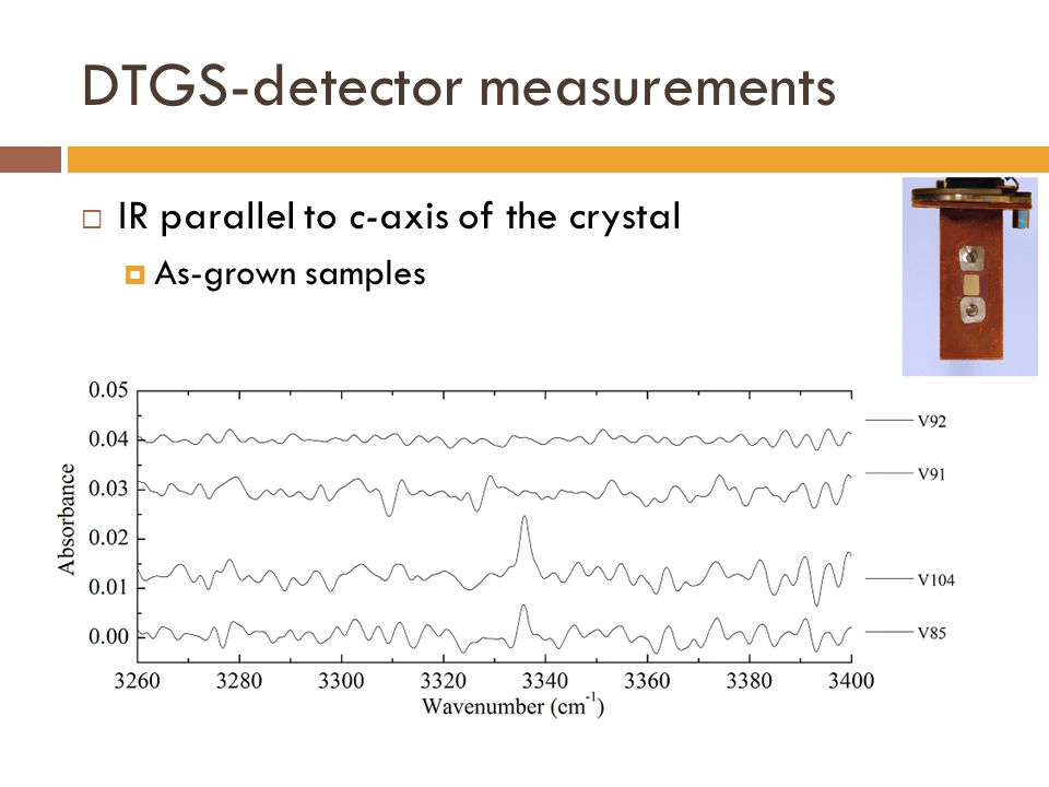 DTGS-detector measurements  IR parallel to c-axis of the crystal  As-grown samples