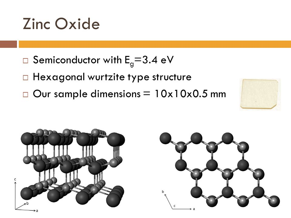 Zinc Oxide  Semiconductor with E g =3.4 eV  Hexagonal wurtzite type structure  Our sample dimensions = 10x10x0.5 mm