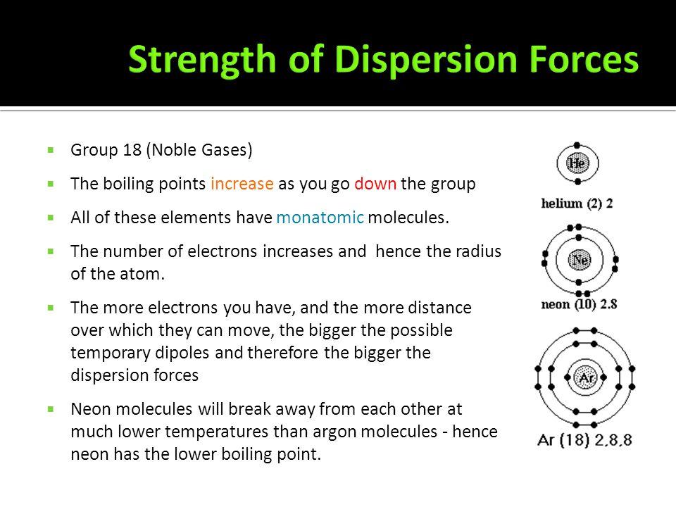  The boiling points of the noble gases are  Helium -269°C  Neon -246°C  Argon -186°C  Krypton -152°C  Xenon -108°C  Radon -62°C  What is happe