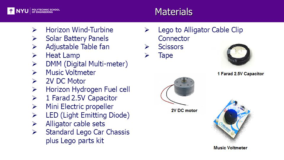 Materials  Horizon Wind-Turbine  Solar Battery Panels  Adjustable Table fan  Heat Lamp  DMM (Digital Multi-meter)  Music Voltmeter  2V DC Motor  Horizon Hydrogen Fuel cell  1 Farad 2.5V Capacitor  Mini Electric propeller  LED (Light Emitting Diode)  Alligator cable sets  Standard Lego Car Chassis plus Lego parts kit  Lego to Alligator Cable Clip Connector  Scissors  Tape