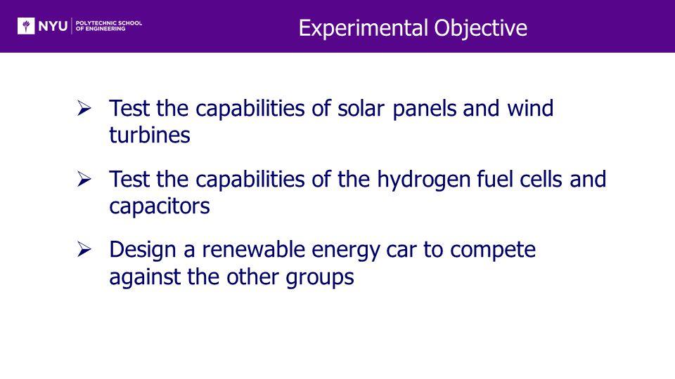 Background Information  Renewable Energy  Solar panels  Wind-turbine technology  Hydrogen fuel cells  Electronic Components