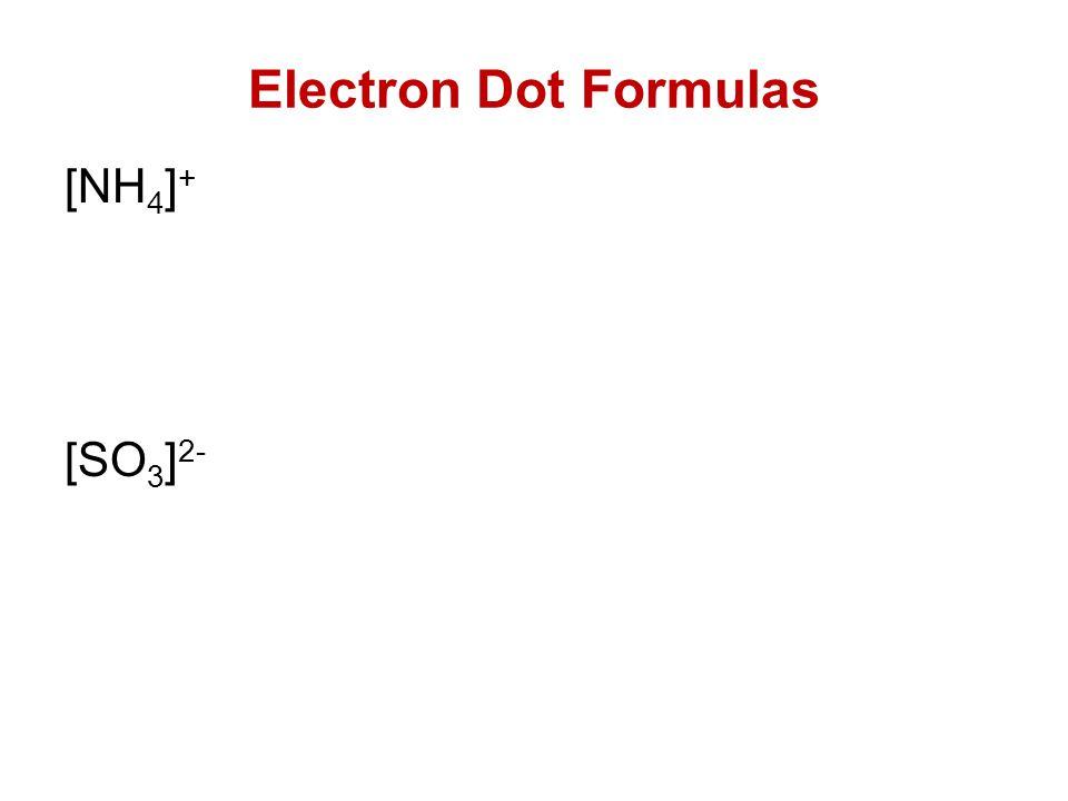 Electron Dot Formulas [NH 4 ] + [SO 3 ] 2-