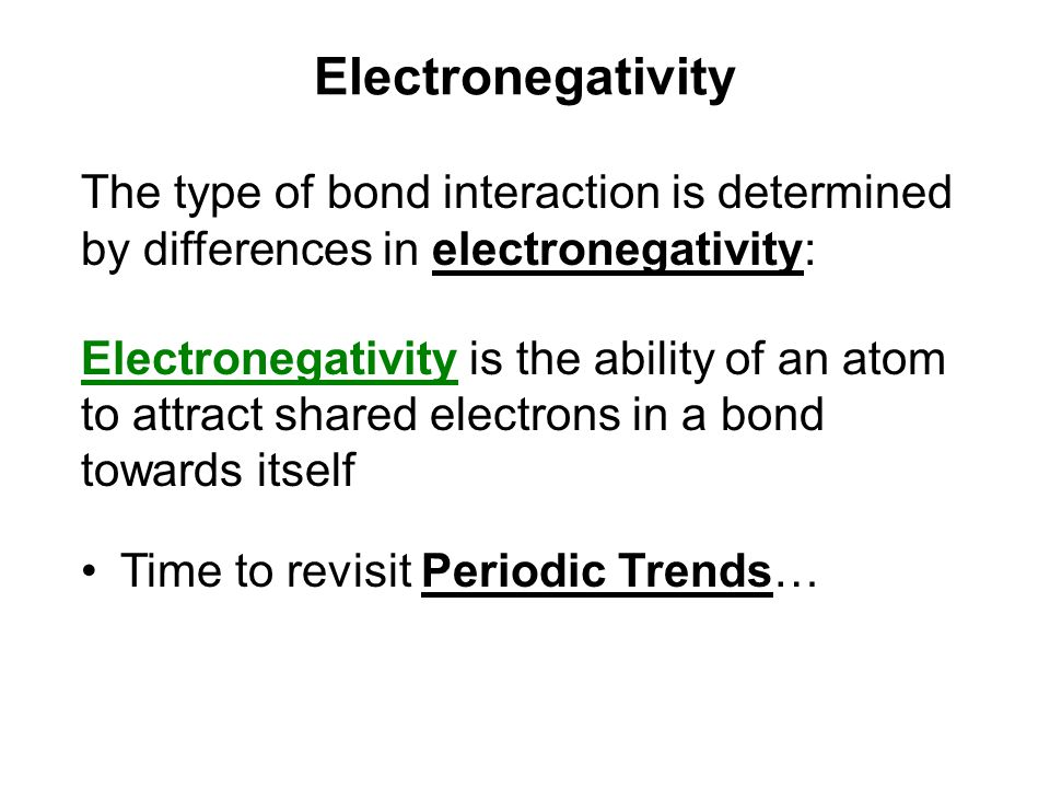 The type of bond interaction is determined by differences in electronegativity: Electronegativity is the ability of an atom to attract shared electron