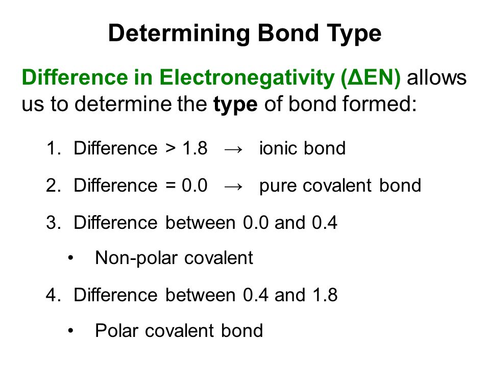 Determining Bond Type Difference in Electronegativity (ΔEN) allows us to determine the type of bond formed: 1.Difference > 1.8 → ionic bond 2.Differen